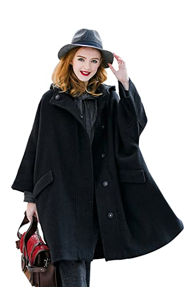 Amazon.com: YOU.U Preppy Style Women Wool Blended Black Coat with ...