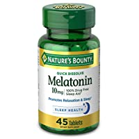 Melatonin by Nature's Bounty, 100% Drug Free Sleep Aid, Dietary Supplement, Promotes Relaxation and Sleep Health, 10mg, 45 Quick Dissolve Tablets