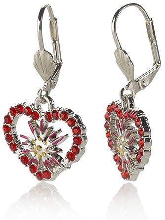 großer Rabatt UK-Shop elegante Form Trachten Ohrringe Wiesnherz - Trachtenschmuck Edelweiss, Herz und Strass -  Schmuck für Dirndl und Lederhosen viele Farben