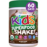 Kids Superfood Shake Mocha Greens Powder by Feel Great 365 (60 Servings), 100% Non-GMO...