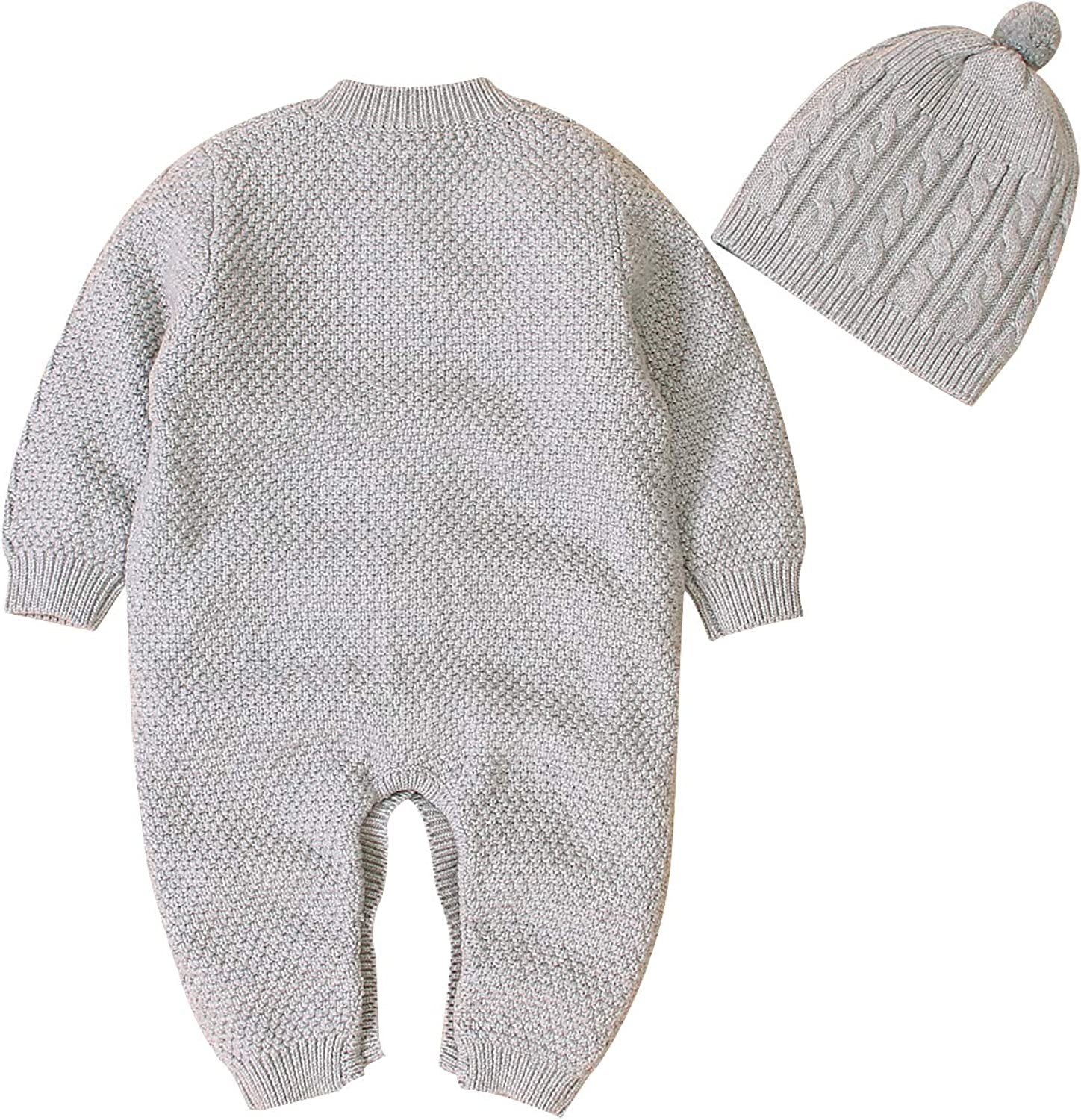 LuuBaby Newborn Baby Romper 2Pcs Infant Boy Gril Bodysuits Solid Color Knitted Jumpsuit Winter Outfits