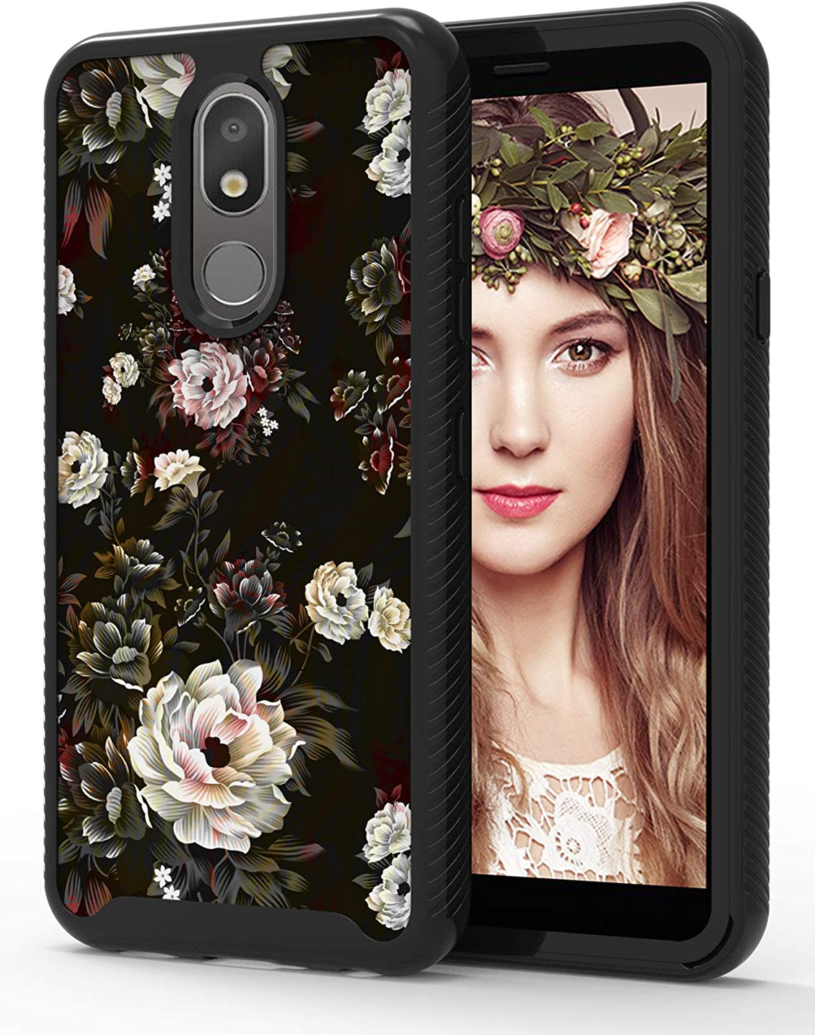 ShinyMax LG Aristo 4 Plus Case with Rose Design,LG Aristo 4/K30 2019/Escape Plus Case,Hybrid Triple Layer Armor Protective Cover Sturdy Anti-Scratch Shockproof Case for Women and Girls-Flowers/Black
