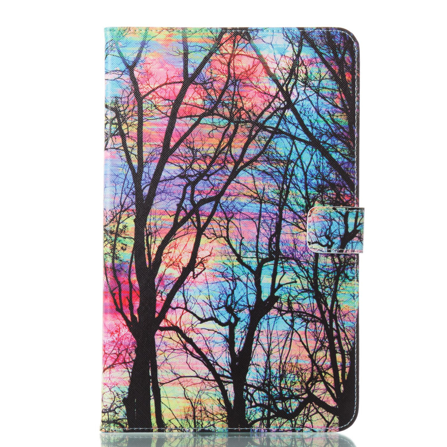 Alfort Samsung T580 Case, Samsung T580 Cover, 3D Painting iPad Case Cover Flip Fold PU Book Wallet Case for Samsung T580 Tablet Computer Image Colorful Trees