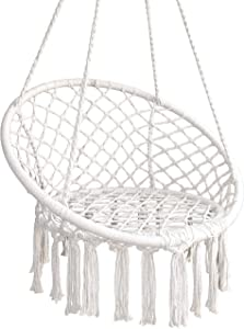 despatio Hammock Chair Macrame Swing – Cotton Rope Hanging Chair Swing for Adults and Teens – Great Boho Chic Addition to Indoor, Outdoor, Home, Bedroom, Patio, Porch, Yard, Deck, Garden
