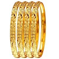 Mansiyaorange Four Traditional Fancy Designer Casual Party Wedding Wear Original Hand Work One Gram Multi Color Golden Bangles for Women