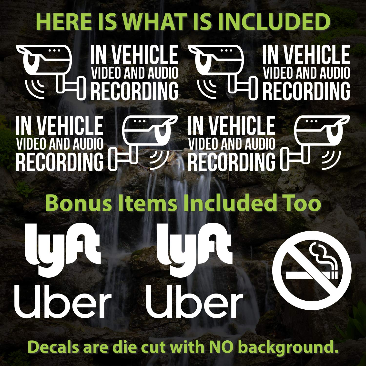 2X for Driver Side, 2X for Passenger Side -White -5.5 W -UBER DASHCAM Security Decal Dashcam Decals 4X Rideshare Zippy Stickers In Vehicle Video and Audio Recording Vinyl Decal Stickers LYFT