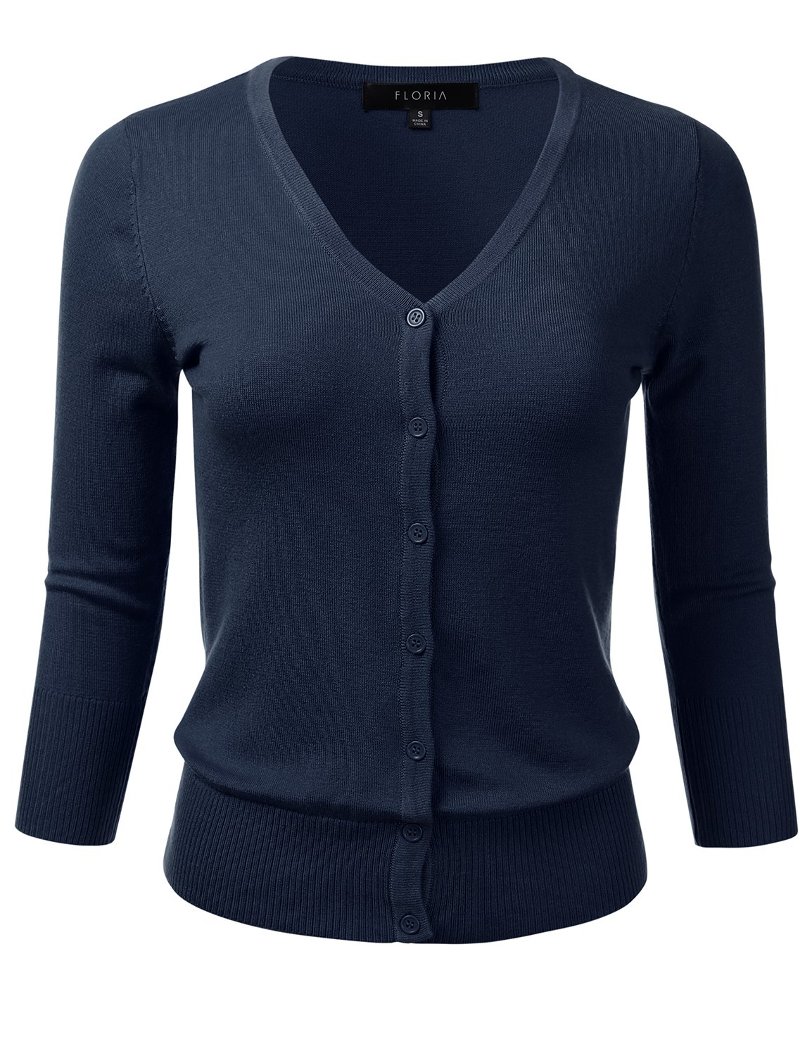 FLORIA Womens Button Down 3/4 Sleeve V-Neck Stretch Knit Cardigan Sweater Navy M by FLORIA (Image #1)
