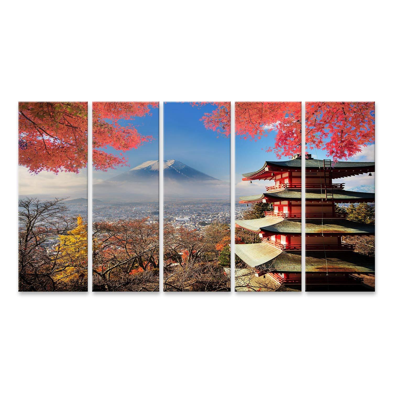 Islandburner Bild Bilder auf Leinwand Mt. Fuji mit Herbstfarben in Japan. Wandbild, Poster, Leinwandbild NPG