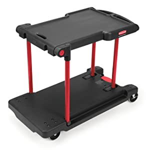 Rubbermaid Commercial Products Convertible Folding Utility Dolly/Cart/Platform Truck with wheels, 400 lbs Capacity, for Moving/Warehouse/Office (FG430000BLA)