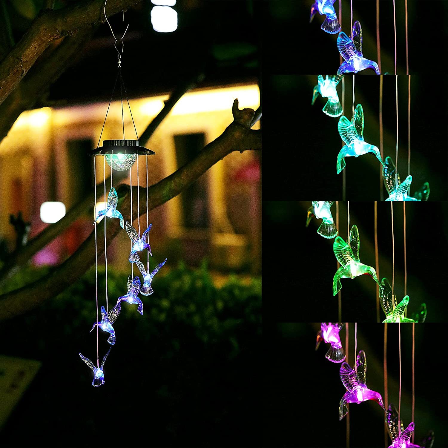 YJFWAL Solar Wind Chimes,Upgraded Hummingbird Wind Chimes Color Changing Outdoor/Indoor Romantic Décor for Yard,Party,Patio,Garden,Gifts for mom/momgrandma Gifts/Birthday Gifts for mom.