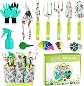 Gardening Tool Set - 13 PCS Heavy Duty Aluminum Gardening Tools Kit Floral Print Garden Tool Set with Non-Slip Rubber Handle & Durable Storage Tote Bag Gardening Supplies Gifts for Women Men