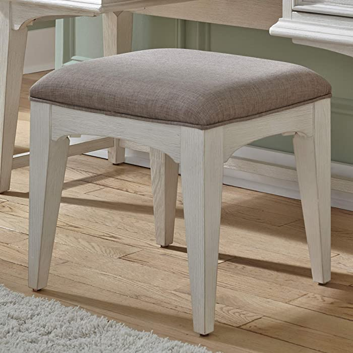 Liberty Furniture Industries Bayside Vanity Stool, W18 x D16 x H18, White
