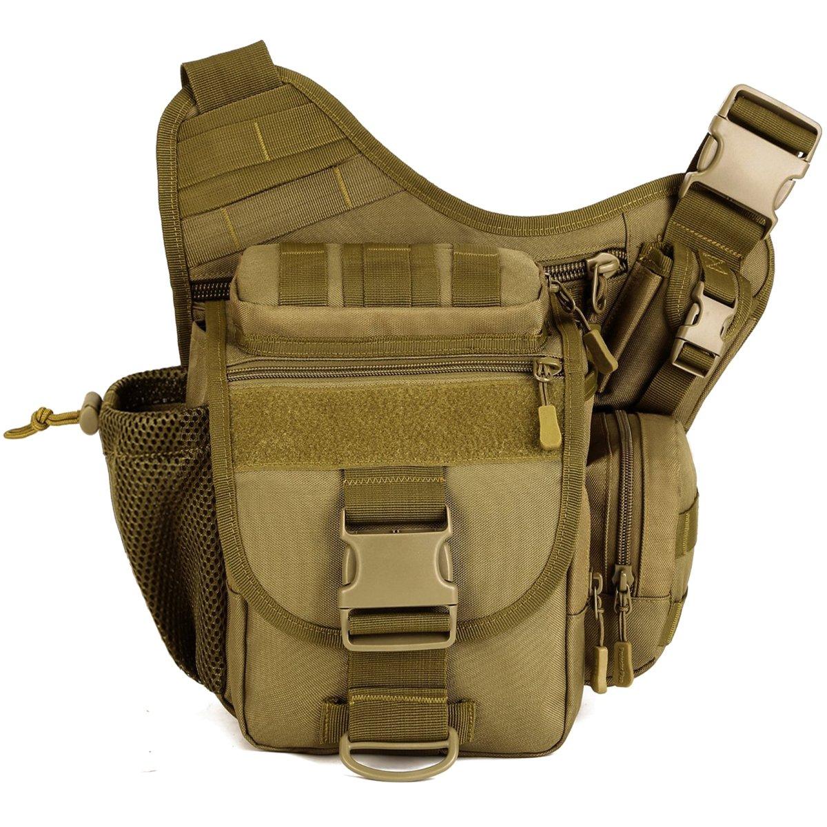 Tactical Bags, Upgraded Version Outdoor Lightweight & Durable DSLR Camera Photography Multi-functional Tactical Messenger Single Shoulder Bag, Super Saddle Bag (Black) Protector Plus