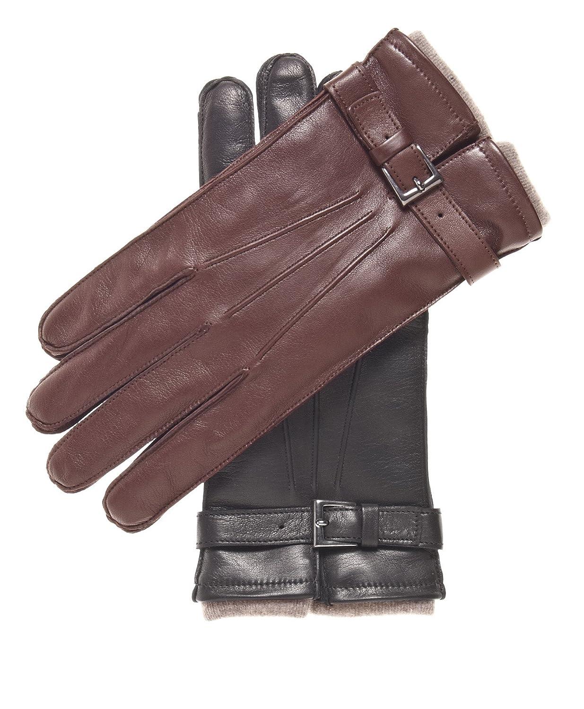 Fratelli Orsini Mens Italian Cashmere Lined Lambskin Gloves with Belt