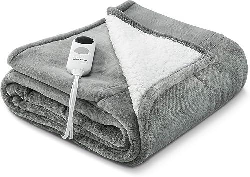MaxKare Electric Blanket Heated Throw Flannel Sherpa Reversible Fast Heating Blanket 50″ x 60″