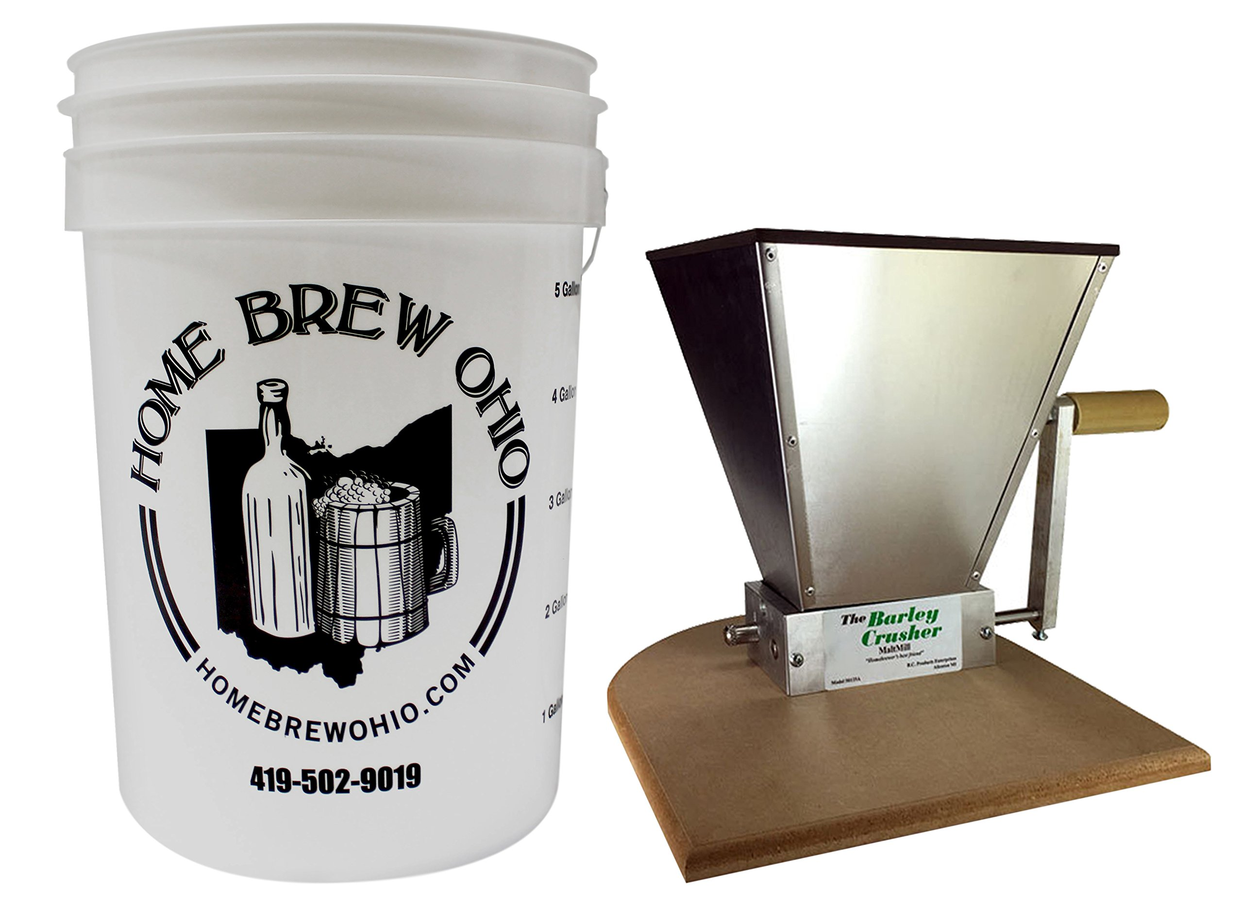 Home Brew Ohio Barley Crusher 7 lb. Hopper Including Bucket by Home Brew Ohio