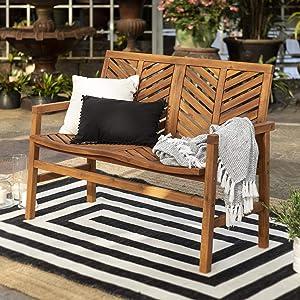 Walker Edison Furniture Company AZW48VINLSBR Outdoor Patio Wood Chevron Loveseat Chair All Weather Backyard Conversation Garden Poolside Balcony Couch, 48 Inch, Brown