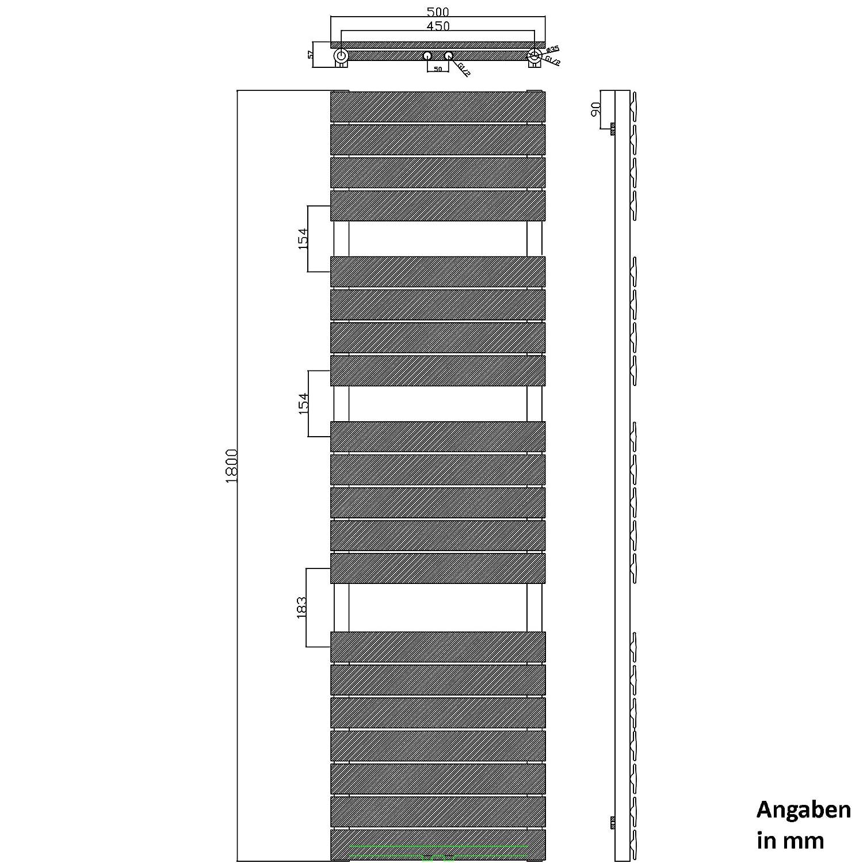 Sogood Design Badheizung 180x60cm Wei/ß Paneelheizk/örper Einlagig Horizontal Mittelanschluss Bad-Heizk/örper
