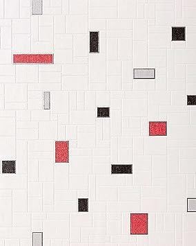 Papier Peint Vinyle Très Résistant EDEM 584 26 Aspect Carrelage Decoratif  Mosaique Cuisine Bain Blanc