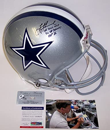 ea836d20a Troy Aikman Autographed Hand Signed Dallas Cowboys Full Size Authentic  Football Helmet - with SB XXVII