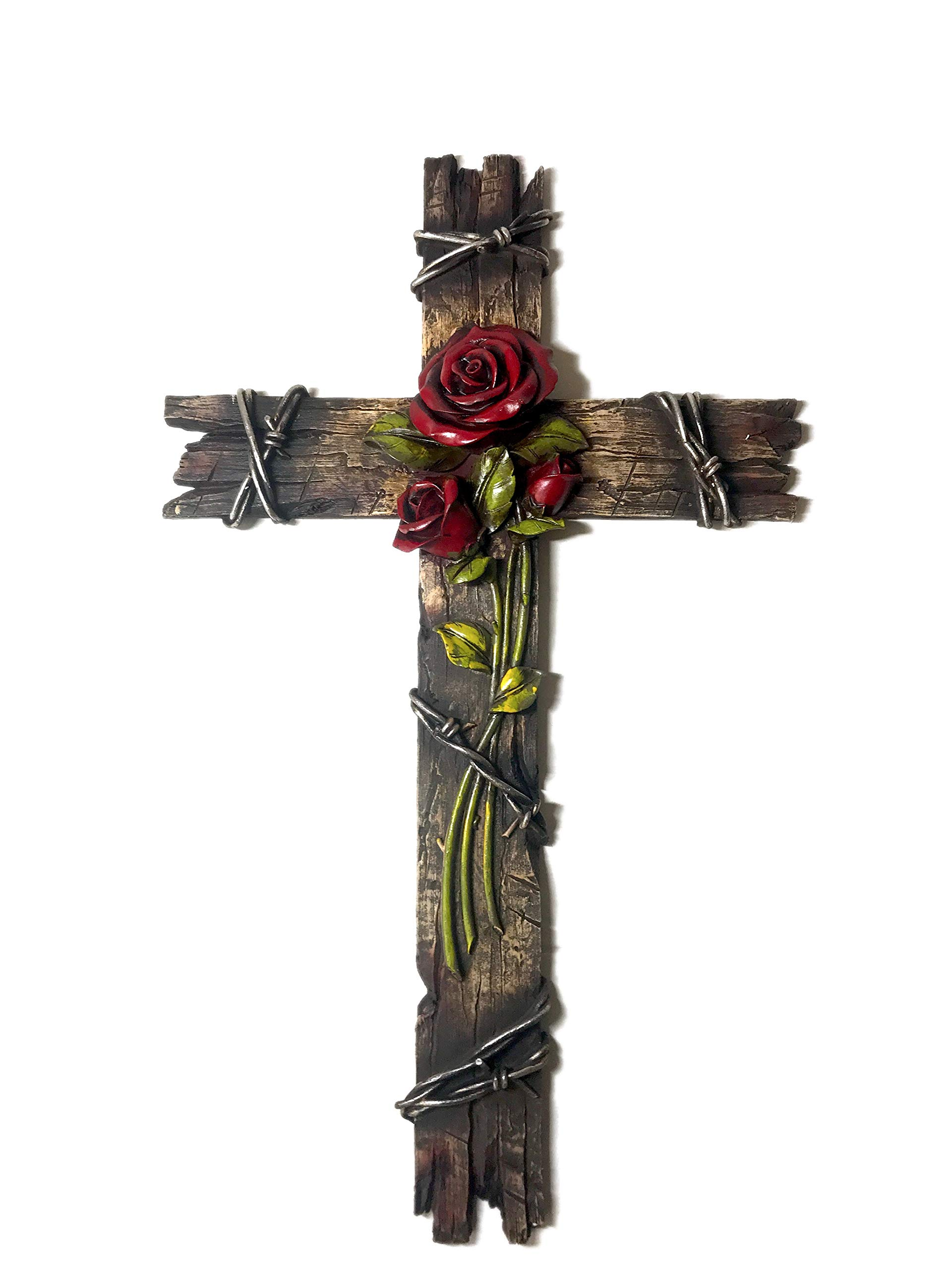 Polly House 20 inch Rose with Wood Look Cross Wall Cross for Home Decoration and Great for Gifts 8407