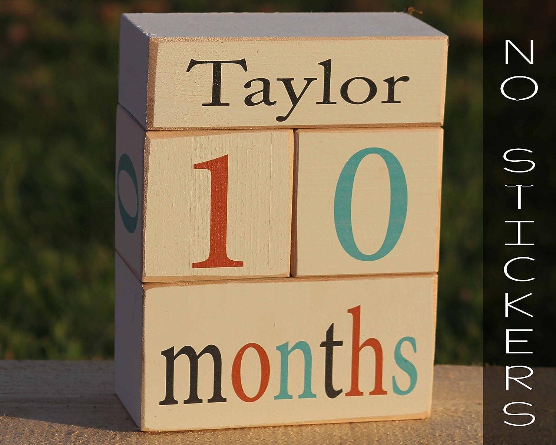 Amazon.com: Baby Age Blocks personalized ♢FREE shipping! Baby ...