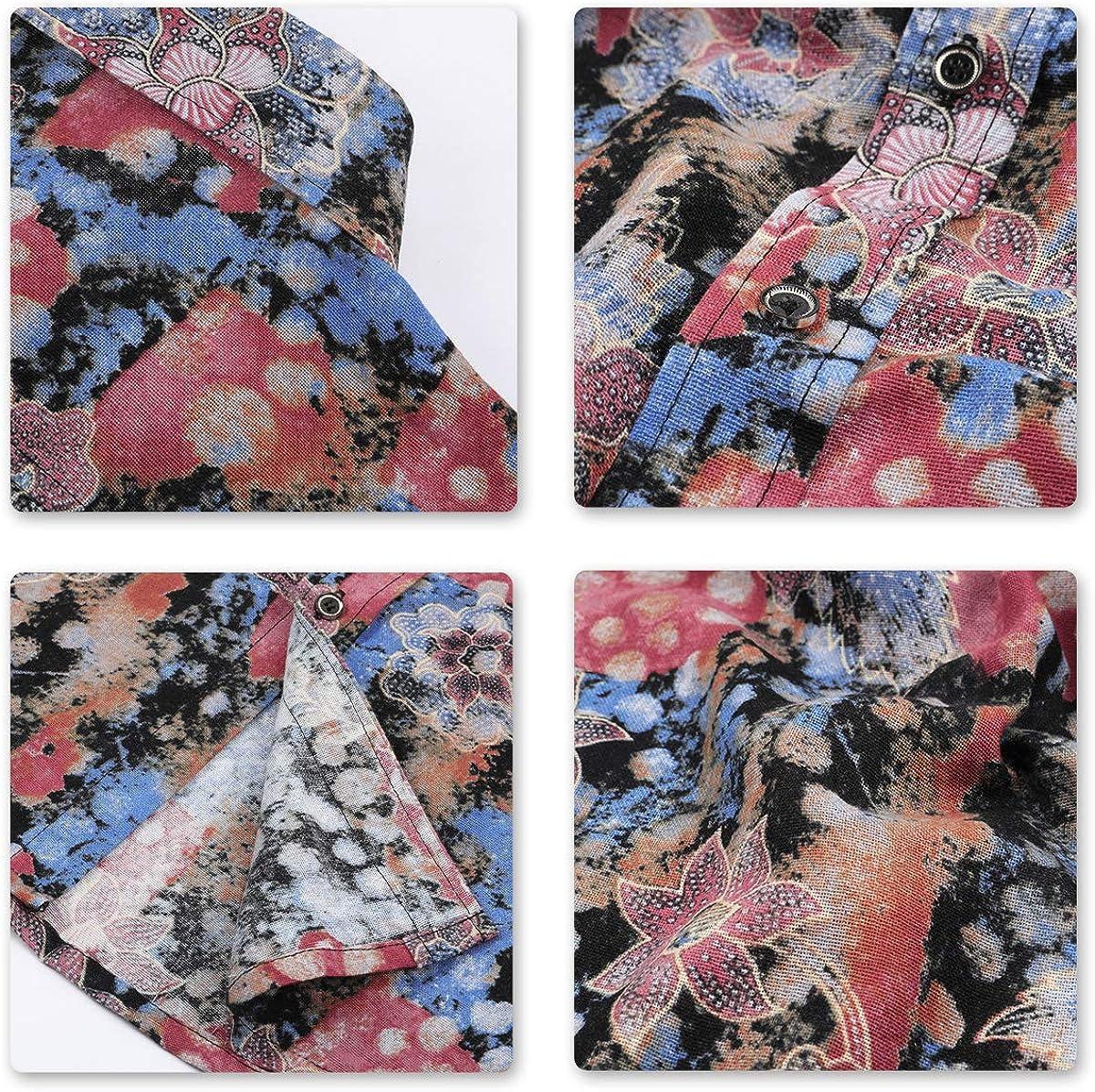 Camicia Elegante da Uomo Camicia Elegante a Maniche Lunghe in Lino Stampato Camicia Casual Fantasia Floreale Tops Pattern Unico