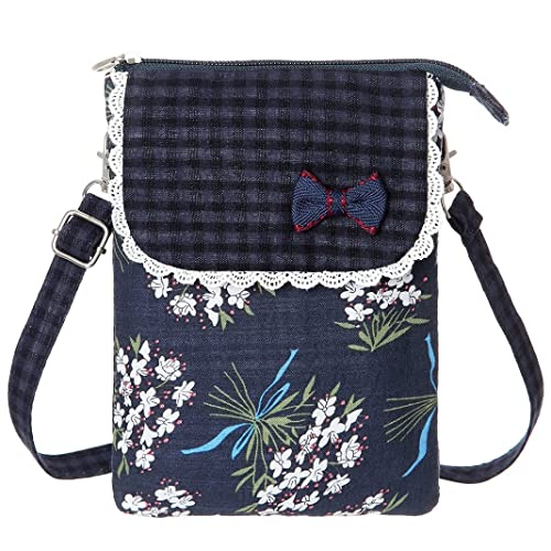 71b0380457fb AOCINA Cell Phone Purse Wallet Canvas Flower Pattern Small Crossbody Purse  Bags For Women(Blue