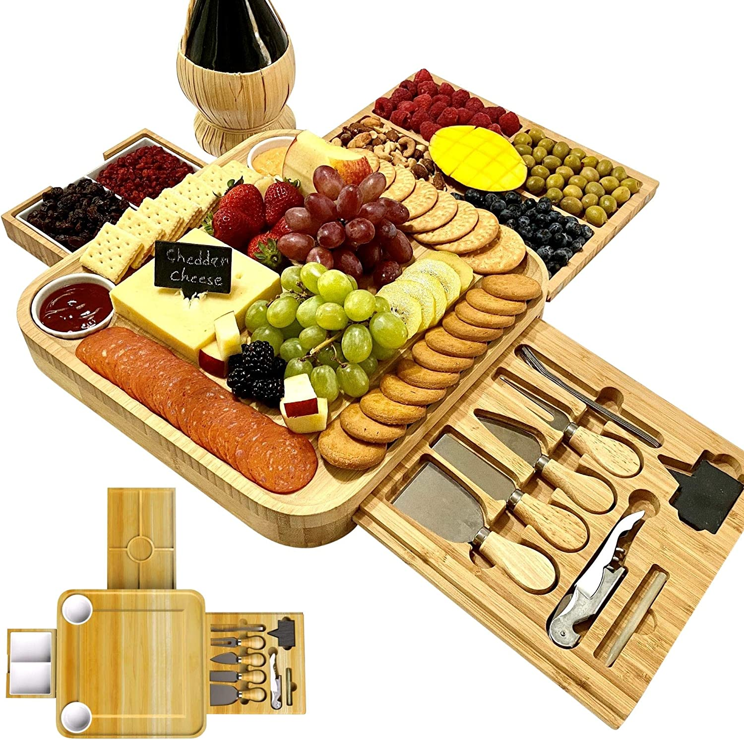 iBambooMart Cheese Board and Knife Set, Wooden Charcuterie, Bamboo Platter & Serving Meat Tray w/Slide-Out Drawers, 4 Knife, 4 fork, Perfect for Christmas, Birthday, Housewarming, Wedding Gifts