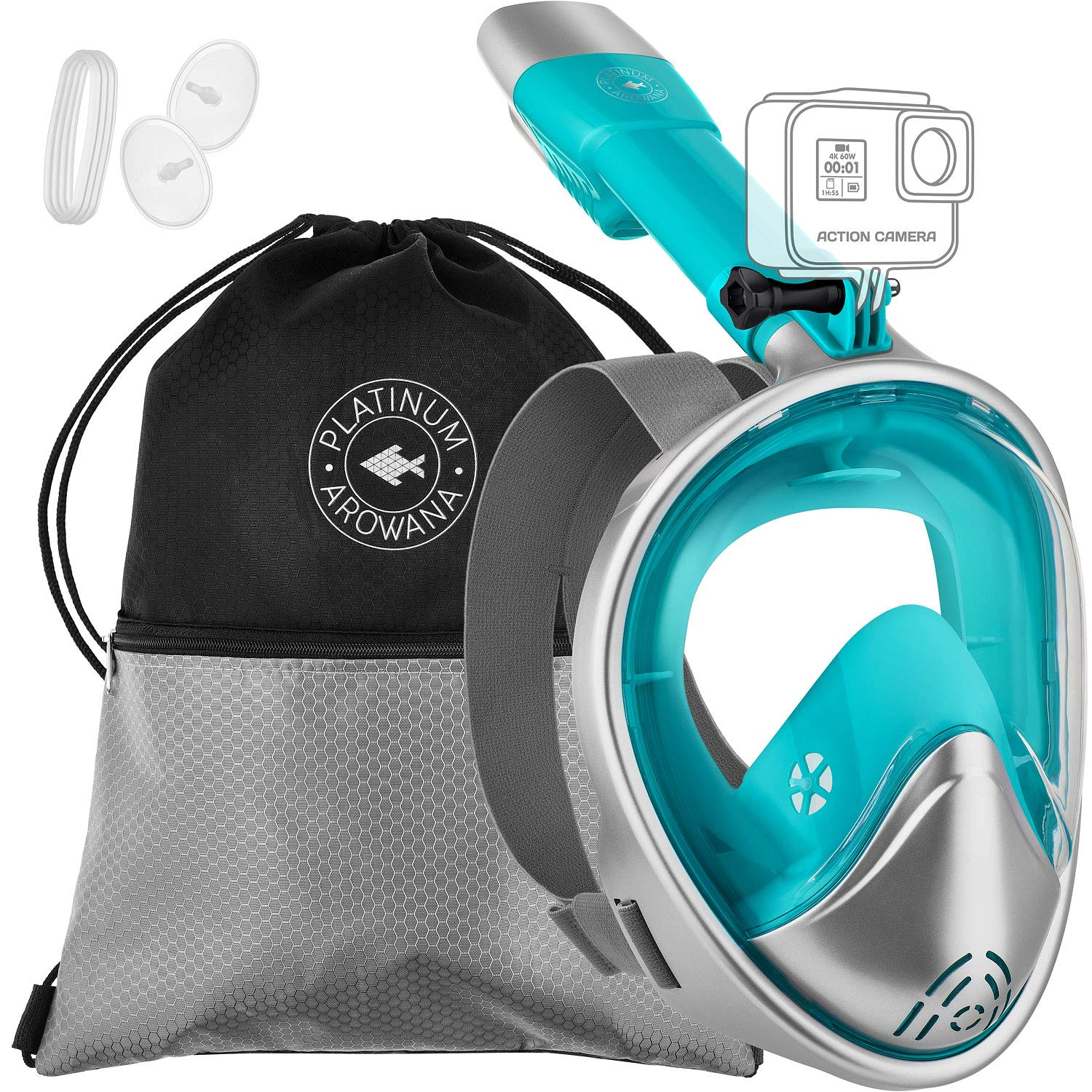 Full Face Snorkel Mask [3 Variations] Panoramic View Curved Face Design Leak Proof 180 Degree Viewing Anti-Fog Anti-Leak Tubeless Scuba Mask Gear Dry Top Water Blocking System Technology Easy Breath by Platinum Arowana