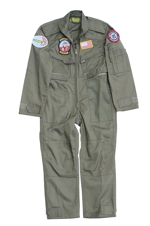Traje de piloto para niño con insignias - color verde verde verde ...