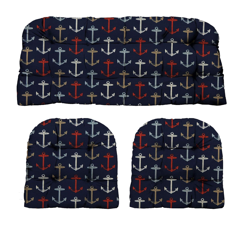 3 Pieceウィッカークッションセット ndash; インドア/アウトドアネイビーレッドとホワイトアンカーパターンファブリッククッションウィッカーLoveseat Settee  2の一致する椅子クッション  B06XWJDVZS