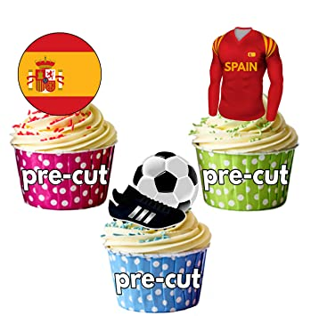 PRECUT: camiseta de fútbol comestible de España, bandera y bola con bota, decoración