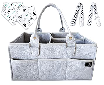 Baby Diaper Caddy Organizer,Nursery Storage Bin,Portable Wipes Holder Bag,Car Organizer for Diapers and Baby Wipe,Tote Bag,Travel Toy Nappy Organizer Light Gray