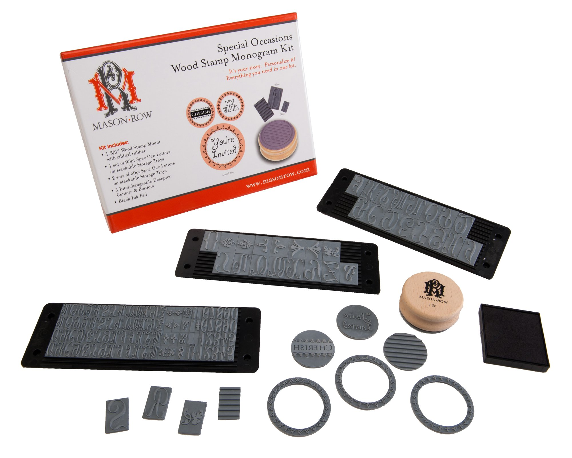 Mason Row XL-48877 Special Occasions Wood Mount Monogram Stamp Kit by Mason Row