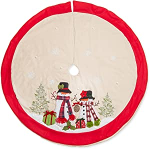 56 inch Mr. and Mrs. Snowman Dimensional Applique Plush Embroidered Christmas Tree Skirt