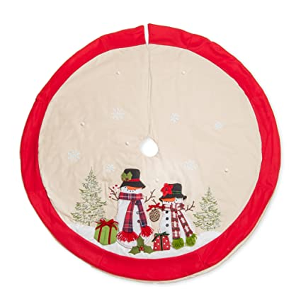 56 inch Mr. and Mrs. Snowman Dimensional Applique Plush Embroidered Christmas Tree Skirt best Christmas tree skirt