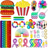 38Pcs Fidget Packs Anti-Anxiety Tools,Sensory Pop-On-It Fidget Toy Pack with Marble Mesh Pop Tube and Keychain Mini…