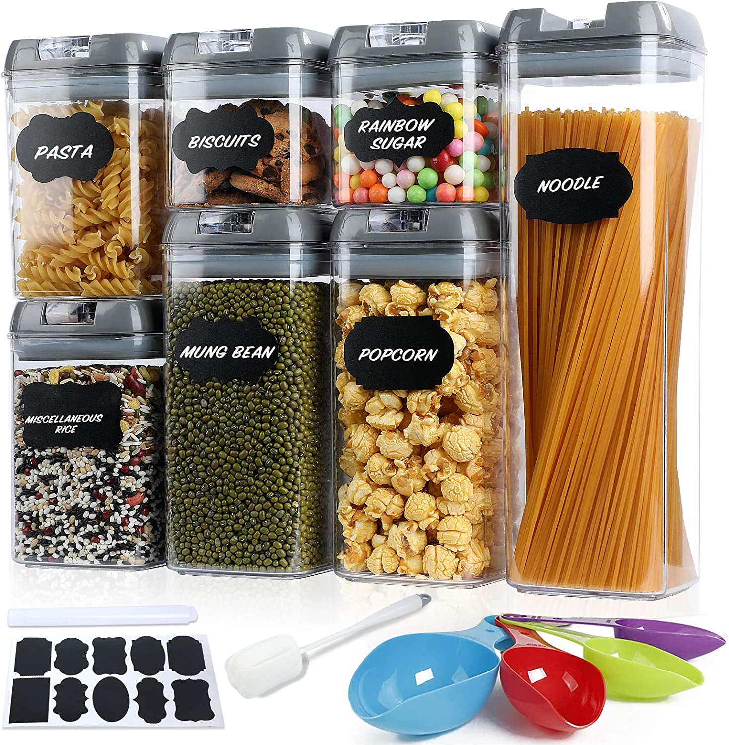 Food Storage Containers Sealed with Easy Lock Lids,7 Pcs BPA Free Clear Plastic Pantry Organization and Storage for Kitchen,Include Labels/Chalk Marker/Spoons/Brush.(Gray)