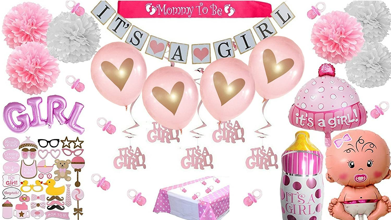 ef753d259f82 Amazon.com  Baby Shower Decorations For Girl Pink It s a Girl Giant ...