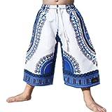 RaanPahMuang Childs Dashiki Pants Pocket Baggy White Shorts Elastic Waist