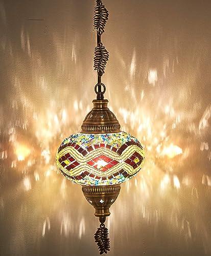 CopperBull Turkish Moroccan Handmade Mosaic Colorful Hanging Ceiling Hanging Lamp Pendant Fixture Light Lantern