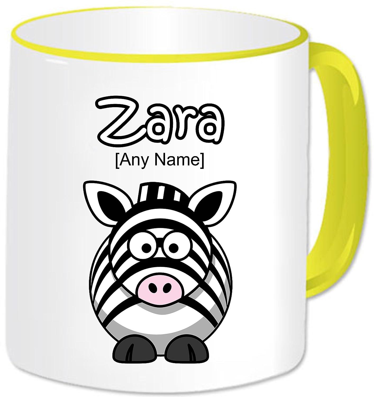 Personalizado Regalo Animal Funny Zebra ml de café taza. Cualquier nombre de cualquier mensaje., cerámica, Yellow Handle & Rim: Amazon.es: Hogar