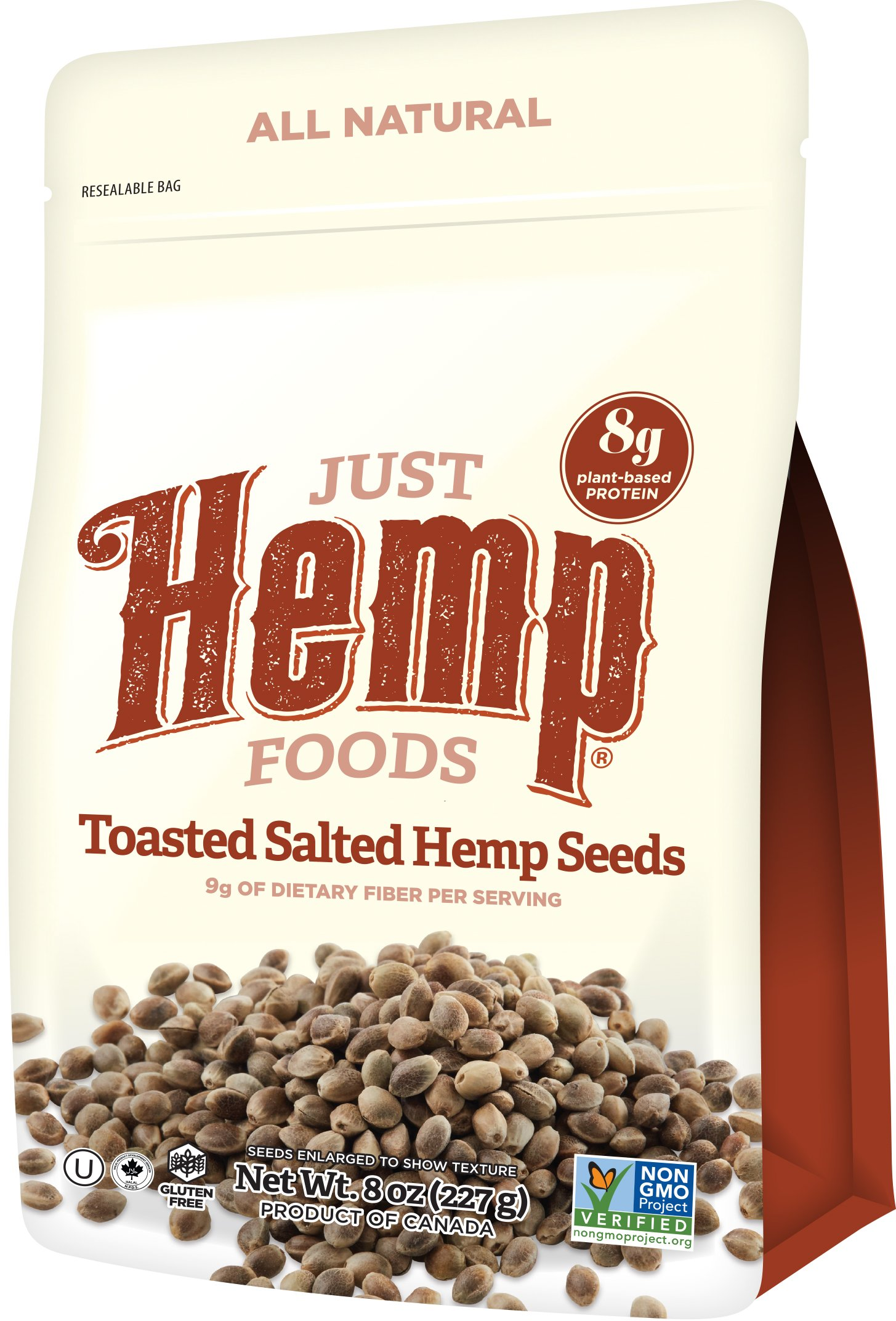 Just Hemp Foods Toasted Salted Hemp Seeds Snack, 8oz; with 9g of Fiber and 8g of Protein & Omegas per Serving