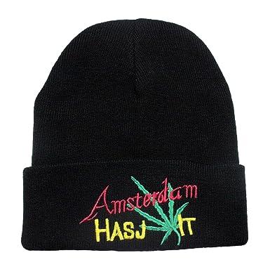 Black Beanie Amsterdam  Amazon.co.uk  Clothing b31139f5923
