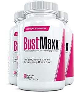 Bustmaxx - All Natural Breast Enhancement and Enlargement Pills (3 Bottles)   Breast Augmentation Supplement for Larger, Fuller Breasts   with Saw Palmetto, Fenugreek and Dong Quai, 180 Count …