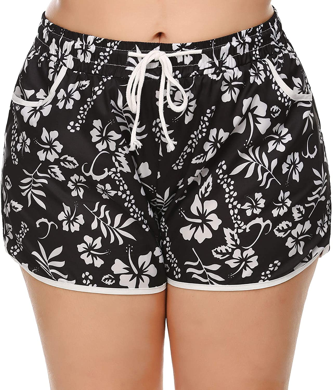 INVOLAND Womens Plus Size Quick Dry Boardshort Swimming Trunks Tropical Volley Beach Shorts with Pockets