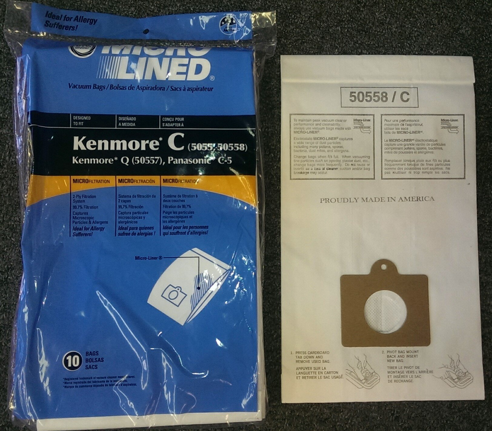 20 Kenmore Style C & Style Q 5055 50557 50558 Micro Lined Canister Vacuum Bags. Also Fits Panasonic C-5, C-18 by DVC 2 Fits Kenmore Canisters made in the Last 20 Years Including Whispertone, Intuition, Elite and Progressive; Also will fit Panasonic C-5 replace Kenmore part numbers; 5055, 50557, 50558, 20-50104, 50104, 54321, 20-54321, 53292, 631396, 20-53291, 53291, 20-53290, 53290, KM48751-12. Also fits the HEPA Cloth Kenmore Style Q bags. IDEAL FOR ASTHMA & ALLERGY SUFFERERS, HOMES WITH BREATHING ISSUES. Designed to fit Kenmore Canister models 23040, 23243, 23350, 24320, 24321, 24325, 24326, 24327, 24350, 24390, 24410, 24971, 24975, 24981, 24991, 25430, 2621, 26312, 26320, 26325, 26355, 26390, 26395, 26410, 26413, 26430, 26435, 26450, 26455, 27514, 27515, 27614, 27615, 27814, 27815, 27914, 27915, 28014 and 28015 Canister models.
