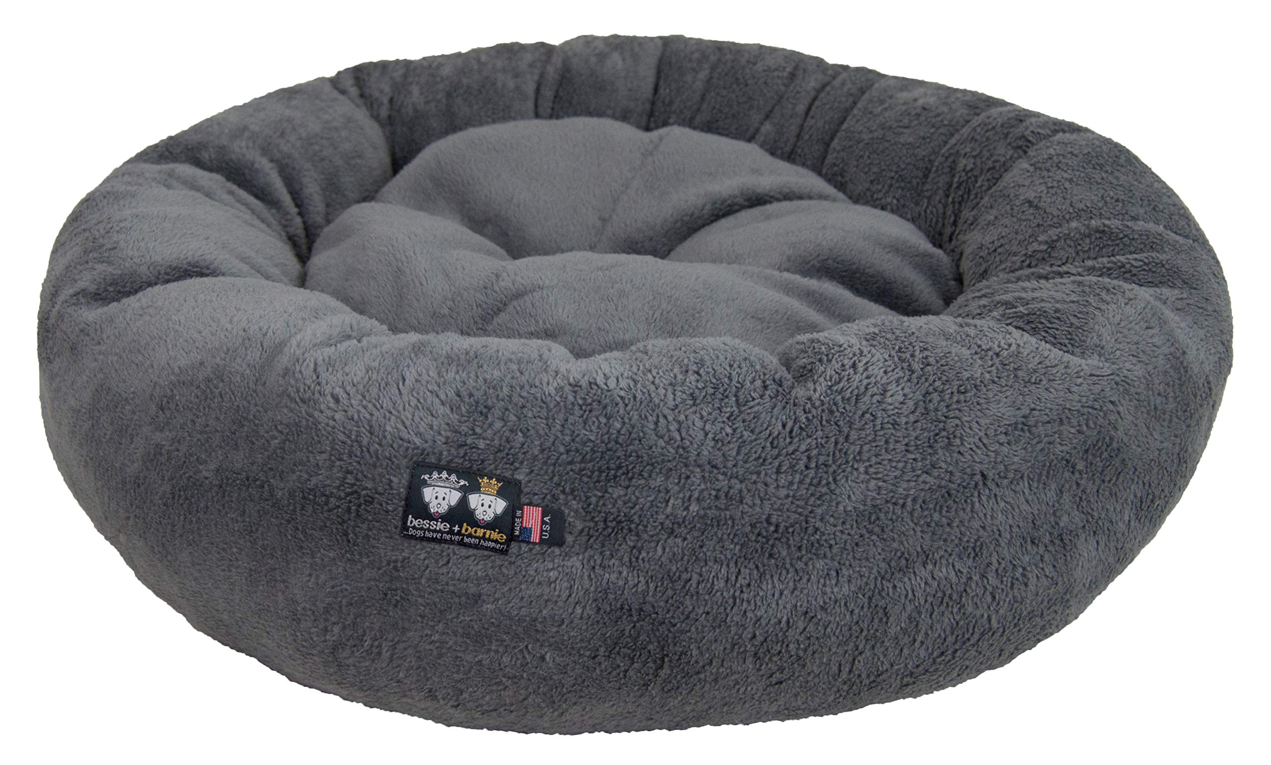 BESSIE AND BARNIE Ultra Plush Deluxe Comfort Pet Dog & Cat Grey Snuggle Bed (Multiple Sizes) - Machine Washable, Made in The USA, Reversible, Durable Soft Fabrics, S - 23'' x 23'', Grey