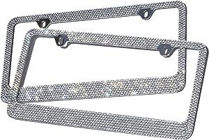 OxGord Rhinestone License Plate Frame Metal Chrome Diamond Bling Glitter Custom 12 Rows of Diamonds, 1pc